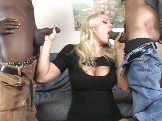 breasty mother i acquires double team-fucked by