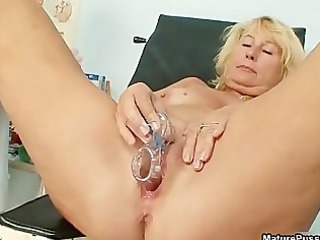excited old doctor injects a speculum part7