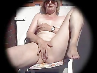 older masturbates on balcony