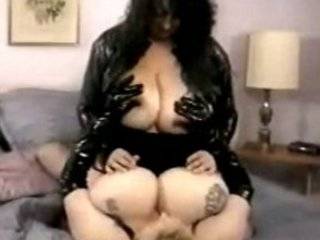 hugetitted bbw matures playing in leather and