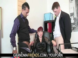 aged office doxy enjoys two cocks