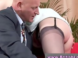 mature british lady in nylons is licked by