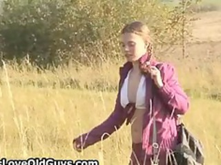 teen gal on a hike outdoor undresses fully part10
