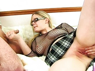 chunky blond mother i with glasses acquires