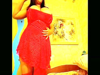 breasty playgirl in red