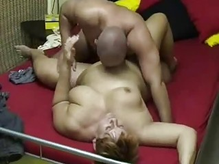 obese amateur wife sucks and bonks at home