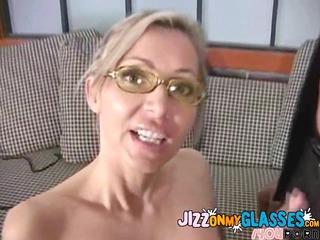 mother i lisa lee gets dark cum on her glasses