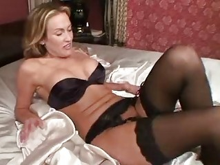 aged in stockings toys her slit