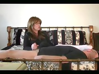 domme got her hands on mans schlong and her feet