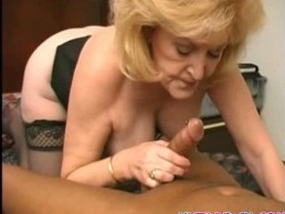 concupiscent granny gets overspread in cock juice