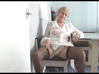 attractive granny in short petticoat strips