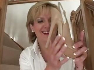aged femdom brit shoe posing bare