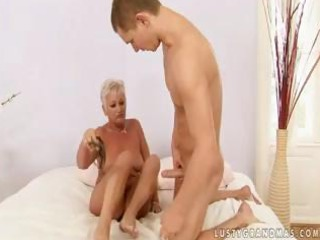 bulky golden-haired granny cecily shows this