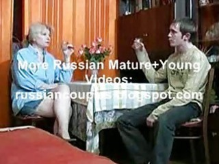 russian mama and guy having a swallow