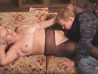 old blonde granny in hose sucks and fucks the lad