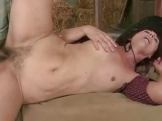 concupiscent granny getting drilled in the barn