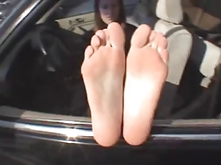 aged lady shows soles n feet
