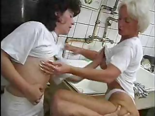 mature brunette hair and platinum blond granny