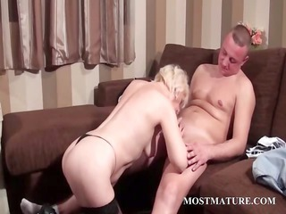 hot aged takes ramrod in mouth and pussy