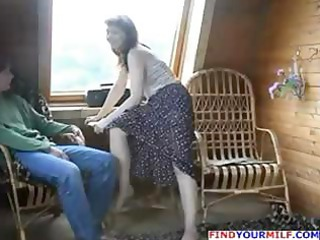 brunette russian mama seduces sons ally and he