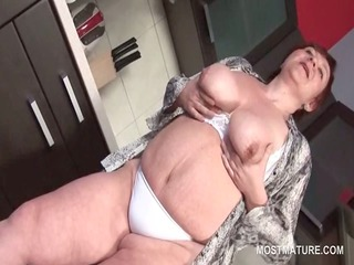 bbw mature chick teasing her big tits and lusty