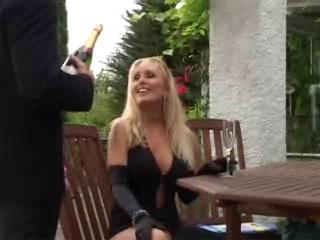 unknown blond older mother drilled in public