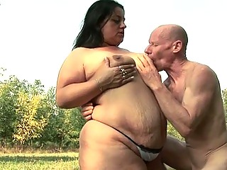 fatty babe craves to fuck granpa with his huge