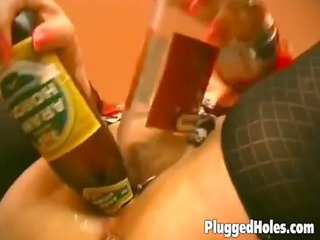 concupiscent milf gets a bottle in her holes