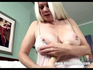 blonde excited grandma in teasing solo