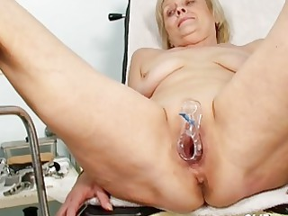 smutty golden-haired granny acquires her pussy