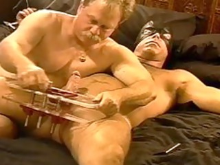 cbt squeezing my hairy hunks balls in vise as hes