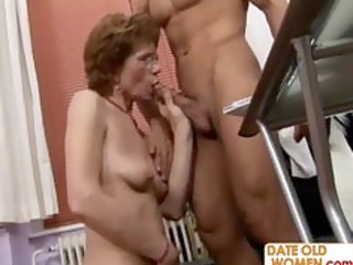 grandmother bonks younger stud in the office