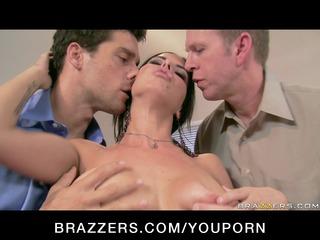 large tit brunette floozy boss anal & double