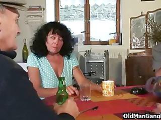 four cocks for older floozy
