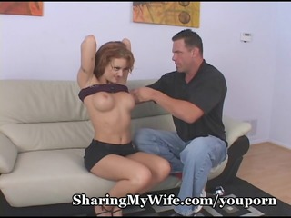 hubby jerks off watching wife group-sex friend