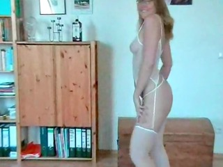 concupiscent older blonde stripping and sucking