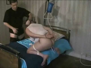 non-professional wife in handcuffs gets enema and
