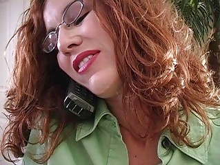 horny redhead momma with glasses gives oral